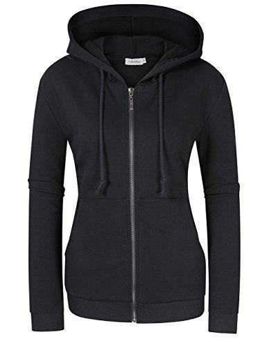 SoleMay Women's Casual Knitted Zip-up Hoodie Basic Long Sleeve Hoodie Jackets With Kanga Pocket Black XL