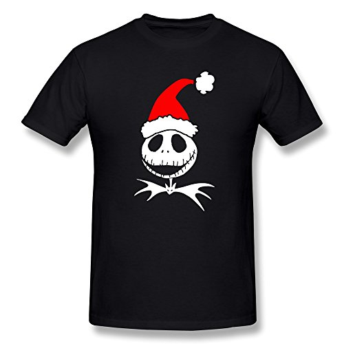 YvonneArt Men's Special Santa Claus Jack Skellington Tees Black Large -