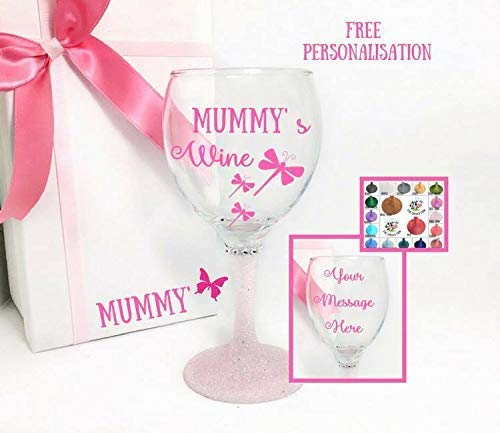 Personlised glitter wine glass With Personalised Box