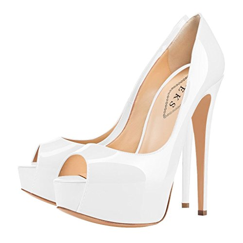 EKS - Zapatos de Tacón Mujer Beige - White-lackleder