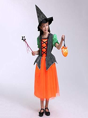amp; Forma Costume Bambina magico Vestito cappello Robe Wizard scialle Bambino Strega BYSTE Arancia zucca Halloween Costume Mago di femminile wIq060
