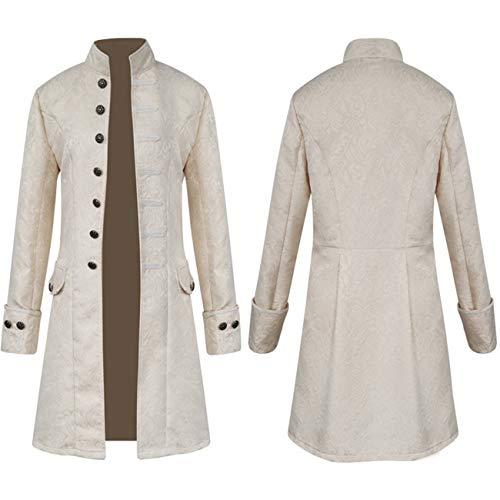 Elefan Cornelia Underwear Men's White Steakpunk Jacket Goth Clothing Costume Frock Coat for Victorian Halloween -