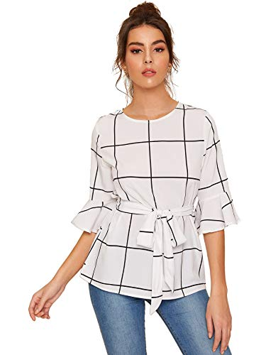 Romwe Women's Bow Self Tie Scalloped Cut Out Elegant Office Work Tunic Blouse Top White - Black White Blouse