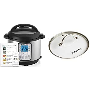 "Instant Pot IP-Smart Bluetooth-Enabled Multifunctional Pressure Cooker, Stainless Steel and Instant Pot Tempered Glass Lid for Electric Pressure Cookers, 9"", Stainless Steel Bundle"