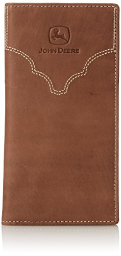 John Deere Checkbook (John Deere Men's Leather Checkbook Cover, Brown, One Size)