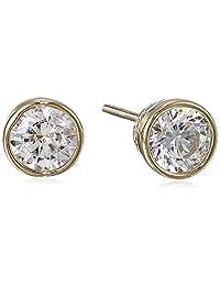 Plated Sterling Silver Swarovski Zirconia (1cttw) Bezel-Set Stud Earrings