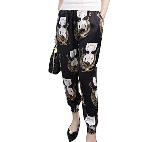 Stoffa Colour Tempo Lunga Elastica Vita Eleganti Baggy Pattern Traspirante Estivi Pantaloni Tasche Stampate Moda 8 Glamorous Trousers Harem Libero Giovane Modern Semplice Donna Di Con qvgTHX