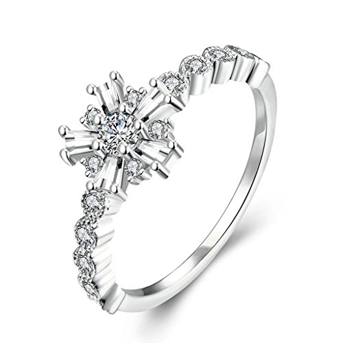 Bishilin Women's Jewelry 18K White Gold Plated Romantic Rings For Girls Plant White Platinum CZ Size 8