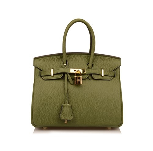 Genuine Hobo 25cm Padlock Shoulder Ainifeel Green Handbag Leather Military Bag Women's qA54Z