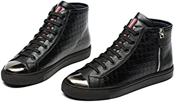 820f28b744 OPP Men's Casual Leather Sneaker Lace Up Cool Zipper Decor High Top ...