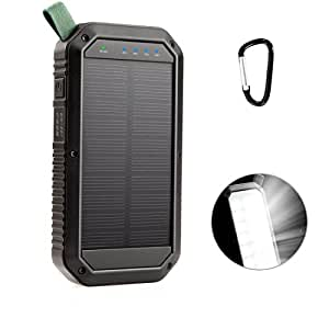 LANIAKEA 8000mAh Solar Charger, 3 Port USB and 21LED Light Solar Power Bank Portable Battery Phone Charger, Solar Panel for Outdoor Camping Hiking for IOS and Android cellphone, Black