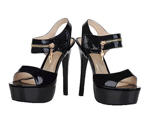 Noir Sandales Velcro D'orteil Stylet Ouverture Unie Agoolar Femme Couleur Verni T1z1A