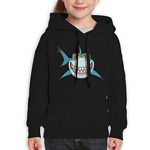 Teenagers Shark With Colored Sunglasses Teen Hoodies Black Pullover Hooded Youngsters Sweatshirt With Boys - Stormtrooper Sunglasses