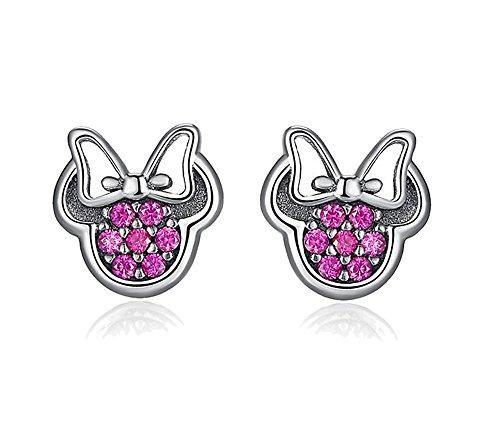 Elensan 925 Silver Sparkling Mouse Studs Earring for Women Teen Girls (Pink) -