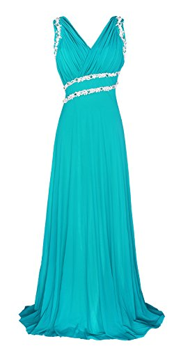 Strap Prom Gown - Licoco Women Beading Straps Ruched Long Formal Prom Gowns Bridesmaid Dress (71turquoise,3XLarge)