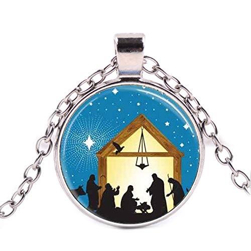 Christmas Jewelry Star of Three Wisemen Nativity Scene Glass Pendant,Glass Picture Pendant Necklace