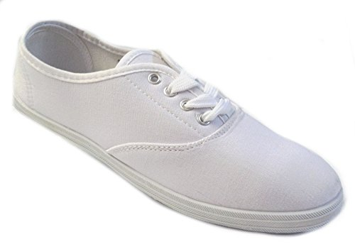 Shoes 18 Womens Canvas Shoes Lace up Sneakers 18 Colors Available (8.5 B(M) US, White -