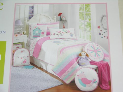 Maggie Miller Children's Collection Pink Pastel Birds and Flowers Twin Quilt - Green Blue Purple (Bedding Maggie Miller)