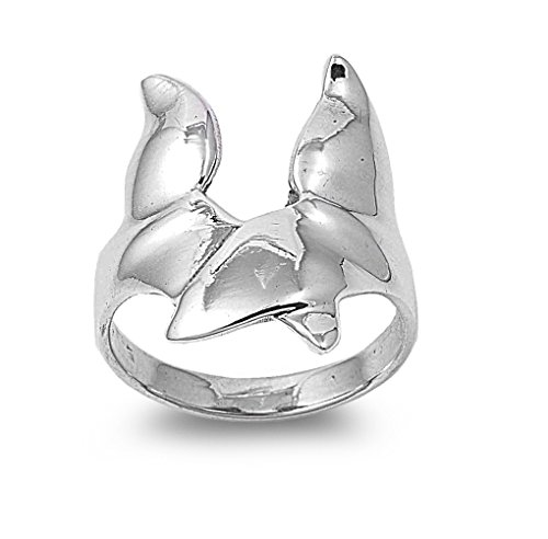 CloseoutWarehouse Whale Fluke Ring Sterling Silver 925 Size 6