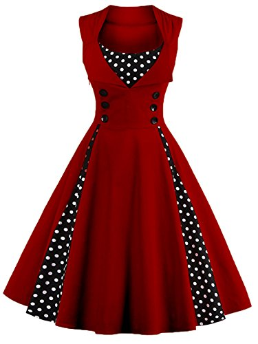 Women Vintage Cocktail Dress 1950s Audrey Hepburn Gala Ball Gown,Burgundy,4XL -