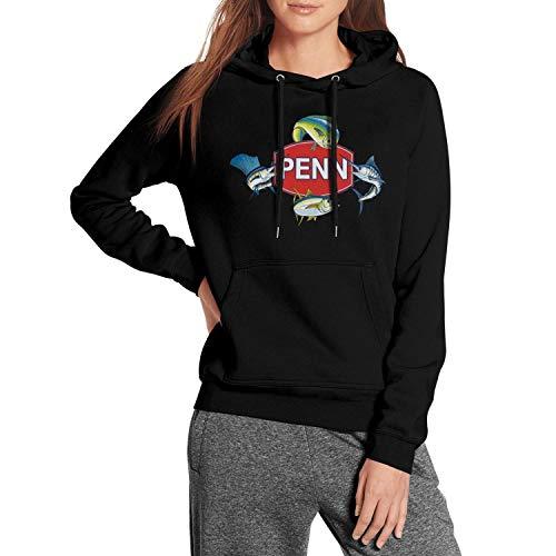 Womens Long Sleeve Fleece Hoodie Penn-Reels-Logo- Pullover Hoodie Sweatshirt
