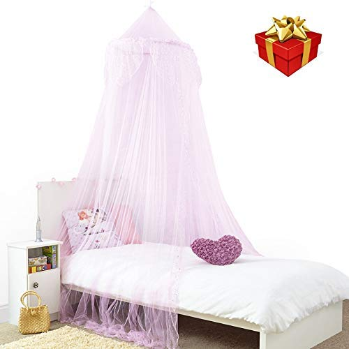 Home and More Store Princess Bed Canopy - Beautiful Silver Sequined Childrens Bed Canopy in Pink - Single Bed by Home and More Store