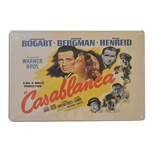 Classic Movie Casablanca Retro Vintage Tin Sign, Wall Metal Posters for Home Garage Bar, 8x12 Inch/20x30cm