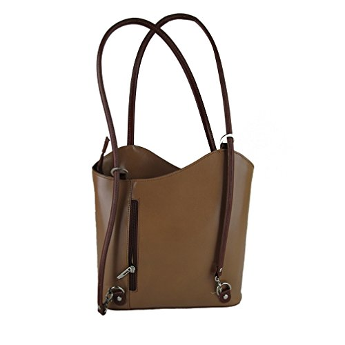Borsa a spalla zainetto in vera pelle made in Italy Fg cuoio