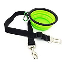 Eightnight Portable Travel Walking Camping Foldable Expandable Cup Bowl Dish and Safety Seatbelt Car Vehicle Seat Belt for Pet Dog Cat