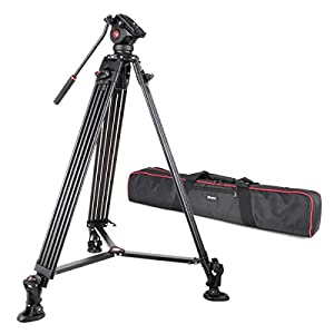 """VILTROX VX-18M Professional Heavy Duty Video Camcorder Tripod with Fluid Drag Head, 74"""" inch ,Max loading 10KG, with Carrying bag,Horseshoe Shaped bracket"""