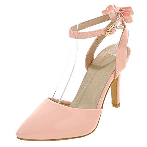 Coolcept Mujer Correas con Tacones Pumps Zapatos Lazo Pink