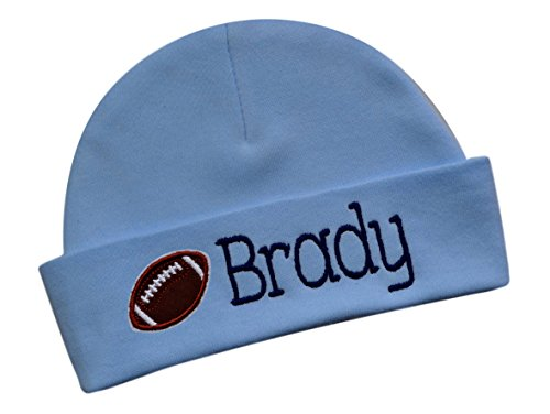 Embroidered Baby BOY Football Hat Personalized Keepsake Custom Infant Hat with Name (Light -