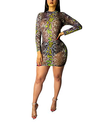 Ophestin Womens Sexy Snakeskin Print See Through Tulle Mini Dress for Club Green Size S