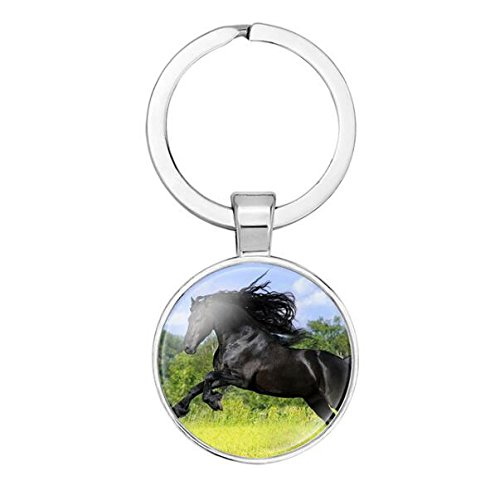 Silver Color Handmade Glass Cabochon Horse Keychain Women Men Car Handbag Key Chain Keyring Fashion Accessories