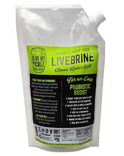 Olive My Pickle | Fermented & Probiotic Pickle JuiceFor Gut Health - CLASSIC KOSHER DILL FLAVOR 21.5 OZ. (1 PACK) Ships FREE ()