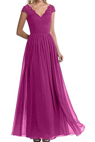 Blau Damen Pink Partykleider Kurzarm Spitze Marie lang Brautjungfernkleider Ballkleider Lang Abendkleider Braut La qTp4EnB