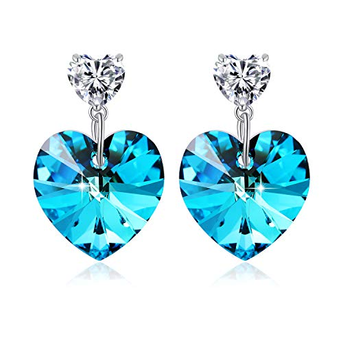 eart Earrings with Swarovski Element Crystal, Women Drop Earrings with Gift Box, Ocean Blue Crystal Heart Earrings, Women Fashion Heart Jewelry Gift ()