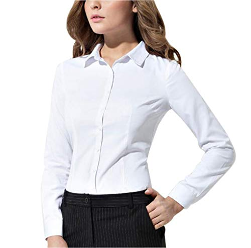 Double Plus Open Women Basic Tailored Collared Button Down Shirt Long Sleeve Slim Fit Blouse White M ()