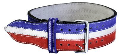Leather Power Weight Lifting Belt- 4'' Red/White/Blue (Large 35''-42'')