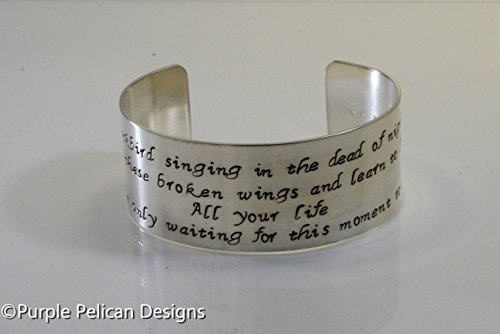 Sterling Silver Beatles Inspired Cuff Bracelet - Blackbird Singing In The Dead Of Night by Purple Pelican Designs