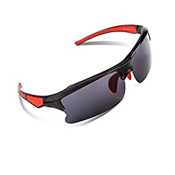 RIVBOS RB302 Polarized Sports Glasses Casual Cycling Sunglasses (Black&Red)