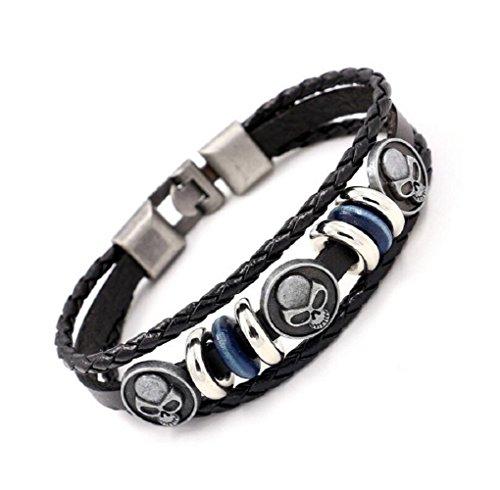 Fariishta Jewelry Alloy Skull Handmade Beaded Leather Wrap Bracelet£¨black£ (Lois Hill Oval Bracelet)