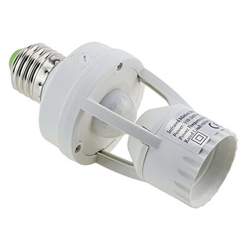 E-Age Ajustable 360 Degree Infrared Motion PIR Sensor Automatic LED Light Lamp E27 Holder Switch
