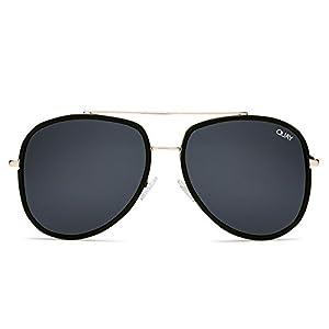 Quay Australia NEEDING FAME Women's Sunglasses Bold Aviator - Black/Smoke