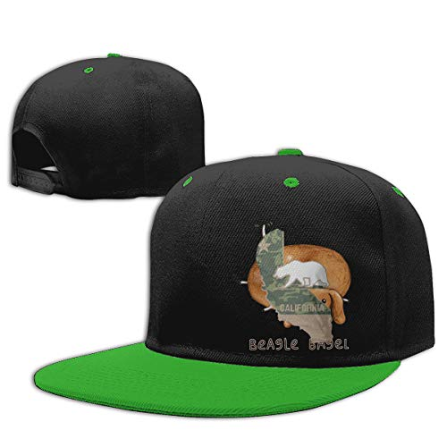 (Age 2-9) Military California Polar Bear Kids Hip Hop Baseball Cap, Fun Adjustable Sun Hat Green