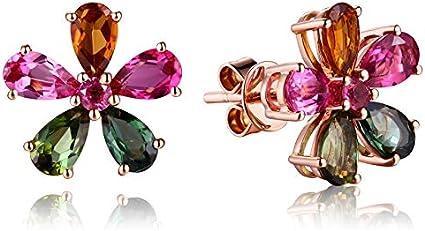 XEHL Plata 925 aretes de joyería con topacio Colorido Pendientes de Piedras Preciosas Color Oro Rosa Pendientes de Plata