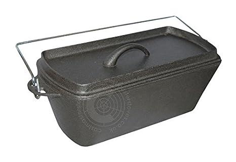 Hierro fundido para molde de horno holandés estufa de Camping olla de barro con tapa y asa - 12 x 27 cm: Amazon.es: Hogar