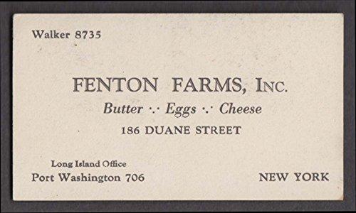 Fenton Farms Butter Eggs Cheese Port Washington NY business card 1940s