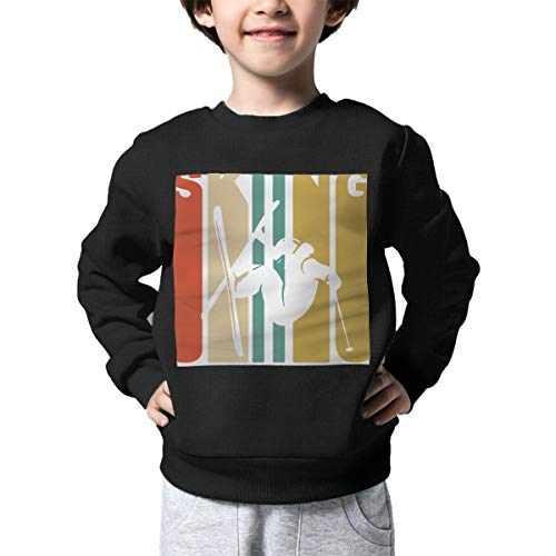 (Children's Vintage Skiing Skier Silhouette Sweater Baby Boys Printed Sweater)