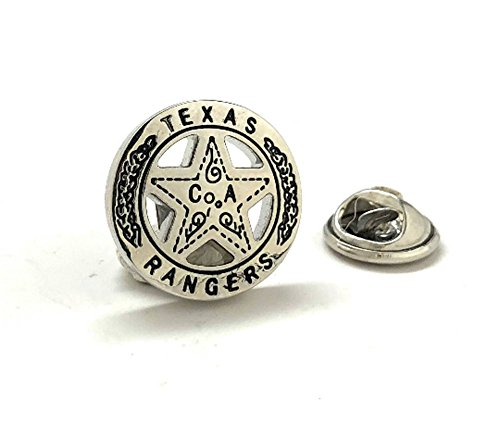 (Williams and Clark Men's Executive Cufflinks Texas Ranger Lapel Pin Old West Silver Tone Lone Star Badge Lone Ranger Tie Tack)